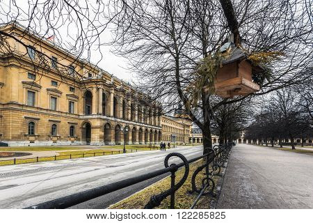 Germany, Munich city on the river Isar in the south of Germany, the capital of Bavaria. Residence Bavarian kurfyustov (birdhouse)
