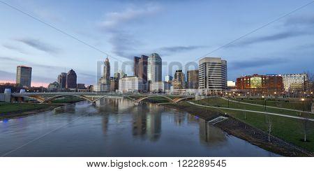 Panorama of the Columbus, Ohio skyline along the Scioto River