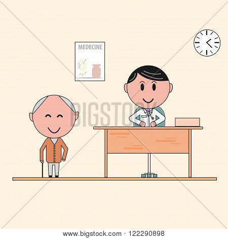 elderly man in a doctor's office/ Happy patient and doctor