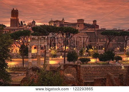 Rome, Italy: The Roman Forum, Latin: Forum Romanum, Italian: Foro Romano, in the sunrise. Old Town of the city poster