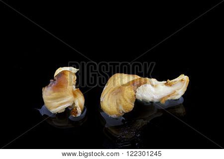 two food mushrooms on a black background with water