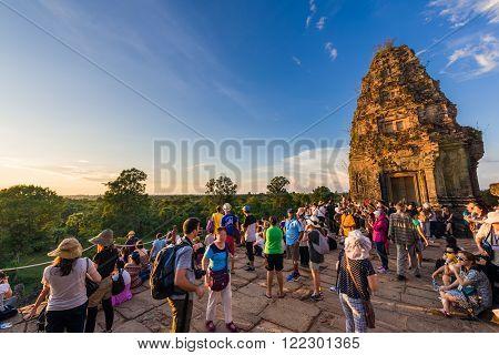 Tourists Sunset Viewing