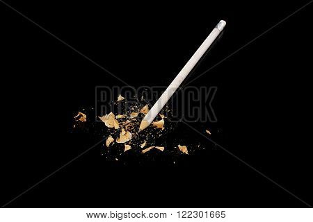 a white pencil on a black background