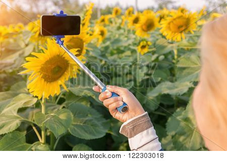woman holding selfie stick taking photo at sunflower field