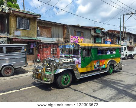 Manila, Philippines - July 19, 2015 : Colorful Jeepney, Jeepney is a most popular public transport on Philippines.