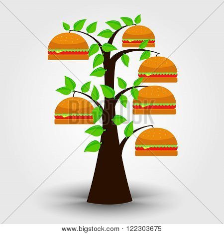 Hamburguer tree isolated on a gray background with shadow. Burger orchard. Conceptual.
