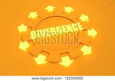 Industry theme relative concept. Arrows withing cog wheel. Divergence text