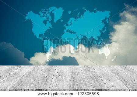 Blue Sky Cloud With Wood Terrace And World Map , Process In Vintage Style