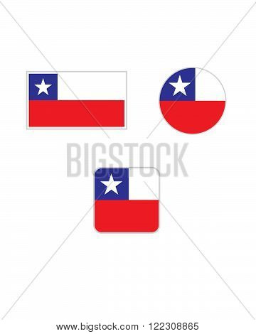 Vector Chile Flag and Icon Symbol Set