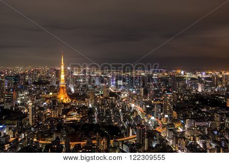 Night view of Tokyo in Japan, cityscape Tokyo tower