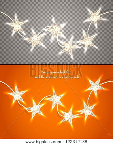 Star-shaped christmas lights on transparent background,  design element for banners flyers and so.