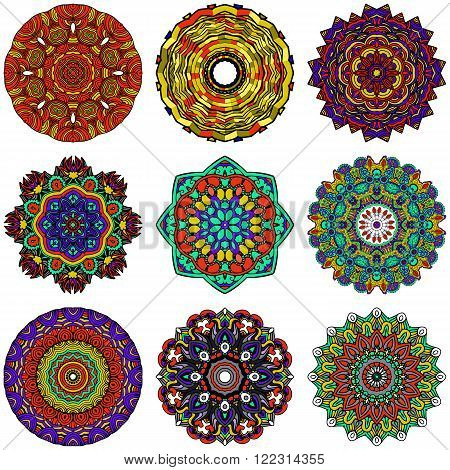 Set of 9 Mandalas. Round Colorful Zentangle Ornament Pattern. Stock Vector Illustration