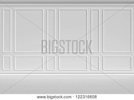 Simple classic style non-color white interior illustration - white wall of classic style white empty room interior colorless 3d illustration