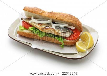 mackerel fish sandwich,balik ekmek,turkish food isolated on white background