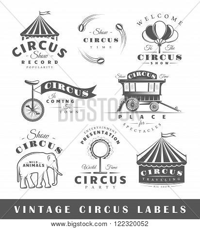Set of circus labels. Elements for design on the circus theme. Collection of circus symbols: tent juggler animals. Modern labels of circus. Emblems of circus. Vector illustration