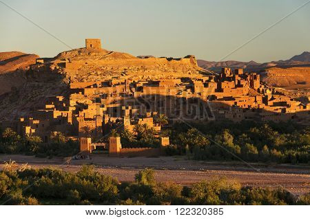 Ait Benhaddou kasbah, along the former caravan route between Sahara and Marrakesh, Morocco, situated in Souss Massa Draa on a hill along the Ounila River