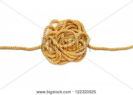Big knot on hemp rope isolated on white background. Industrial background.