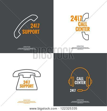 Set Abstract background with handset, handphone. Icon. Call technical support. 24, 7. helpline, support service. Contacts. vector. Flat design with shadow. minimal, outline, pictogram