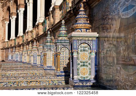 Ceramics Work At Plaza de Espana in Sevilla built in 1928 for the Ibero-American Exposition of 1929