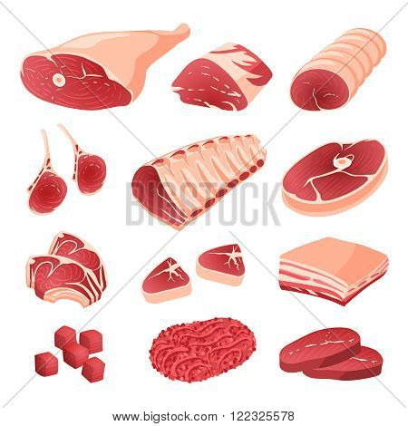 Set of cartoon food: meat cuts assortment - beef pork lamb round steak boneless rump whole leg rib roast loin and rib chops rustic belly ground meat meat cubes for stew. Isolated on white. poster