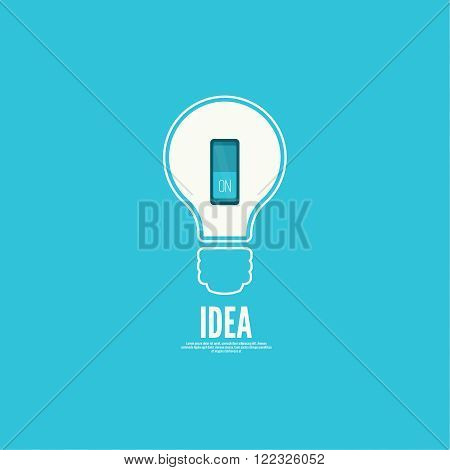 Bulb light idea with switch. concept of big ideas inspiration innovation, invention, effective thinking. inclusion of thinking poster