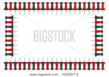 Frame made of red and black pushpins. Isolated