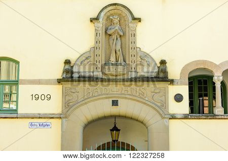Kalmar Sweden - March 17 2016: The portal above the old bathhouse from 1909 is called
