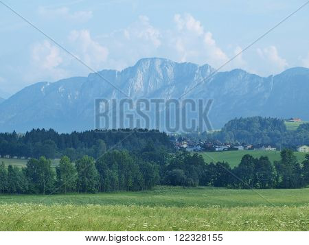 view of landscape around Mondsee Salzburgerland Austria