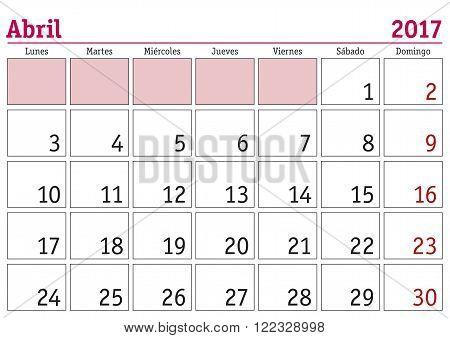 Abril 2017 Wall Calendar Spanish