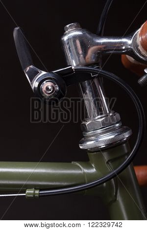 Vintage speed gear shifter isolated on black.