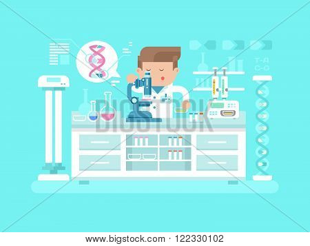 Genetics doctor man. Medical research, test science, biology laboratory, lab scientific, vector illustration