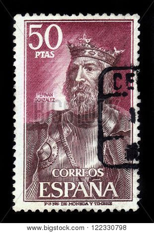 SPAIN - CIRCA 1972: a stamp printed in Spain shows Fernan Gonzalez (923-970), the first autonomous count of Castile, circa 1972