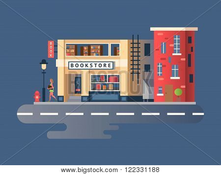 Book shop building. Store building, shop market front, street facade, vector illustration