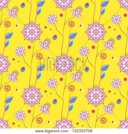 Seamless floral pattern. White flowers on a yellow background. Stock vector.