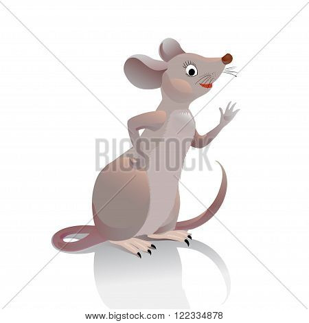 Mouse waves her hand you. Little gray-brown vole is in profile and greets the viewer. Character mouse on a white background. Illustration for a children's site or game cards.