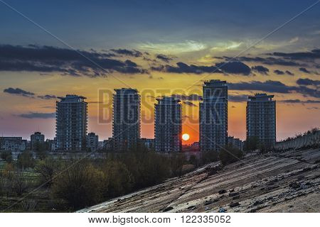 Sunset And Skyscrapers