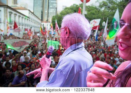 Rio de Janeiro, Brasil - March 18, 2016: political demonstration in favor of the government of President Dilma Rousseff and former President Luis Inacio Lula da Silva in the city of Rio de Janeiro.