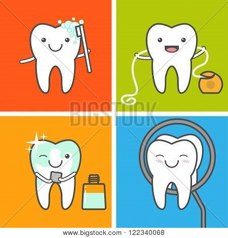Children teeth care and hygiene vector icons. Oral hygiene. How to care for your teeth concept. Healthy tooth. Toothbrushing flossingmouthwashing and visit the dentist.