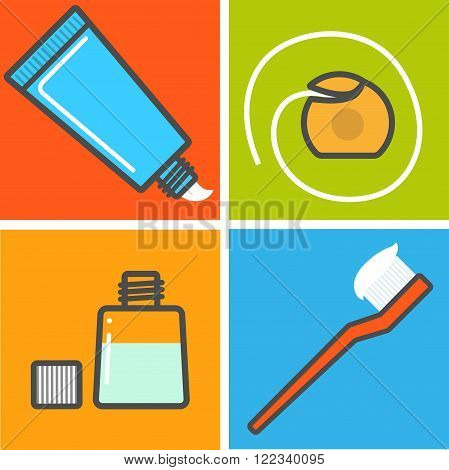 Four isolated dental care things. Vector illustration