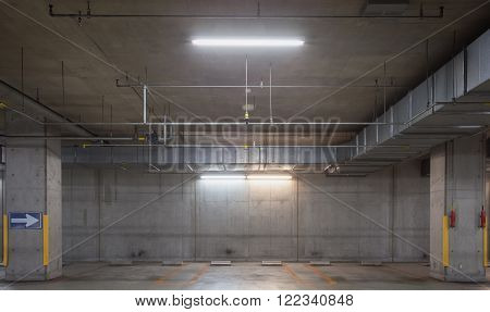 Interior of Empty underground car parking lot
