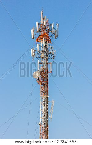 a Telephone pole with clear blue sky