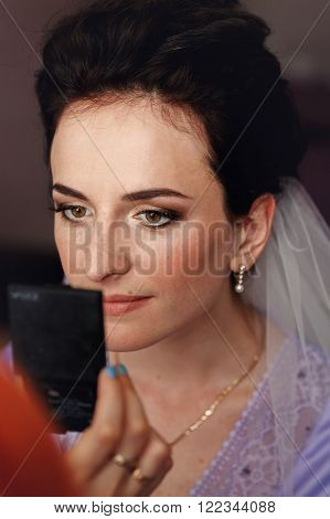 Professional Stylish Putting On Makeup On Beautiful Brunette Bride