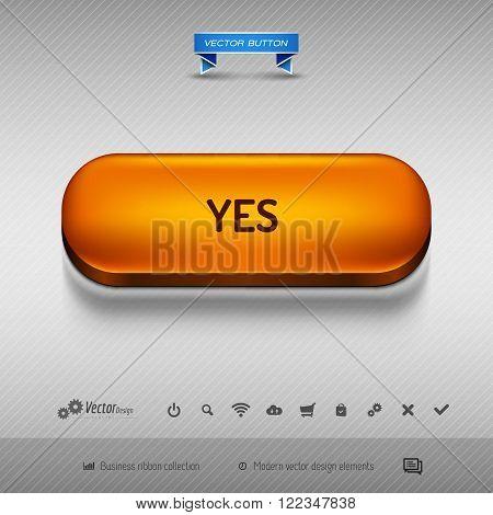 Orange Button For Webdesign Or App. Vector Design Elements.