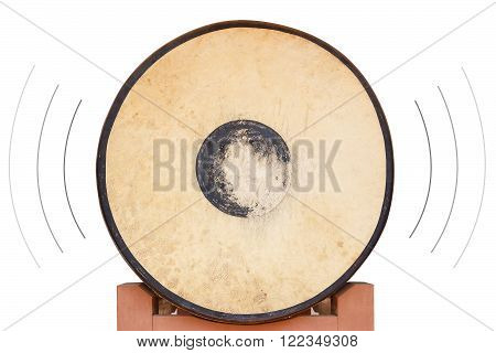 Front of the old drum on isolated white background with sound surround