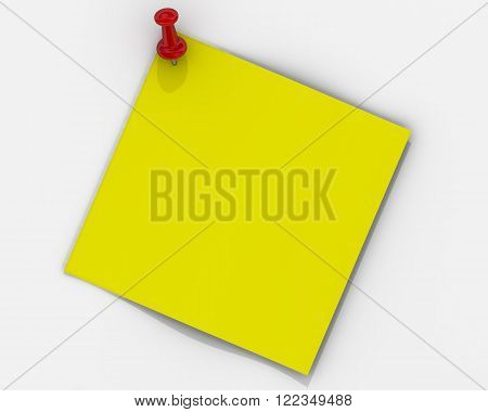 Note paper with pushpin. Yellow sheet for notes fastened on a white wall with red pushpin. The three-dimensional illustration. Isolated