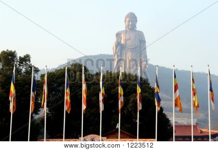 Flags In Fromt Of Buddha