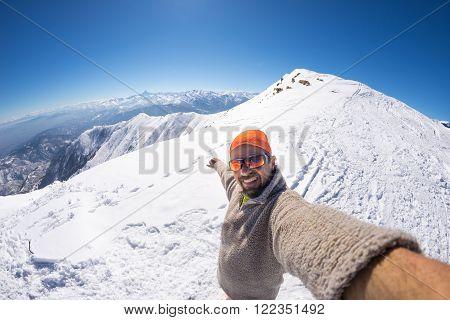 Alpinist Taking Selfie On Snowcapped Mountain, Fisheye Lens