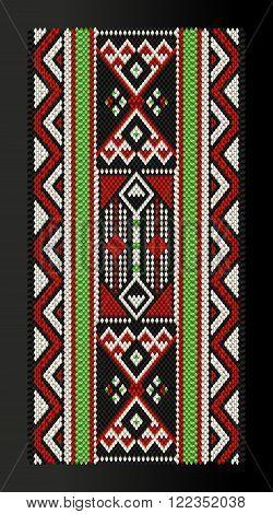 Vertical Traditional Arabian Style Sadu Weaving Illustration In Black Frame