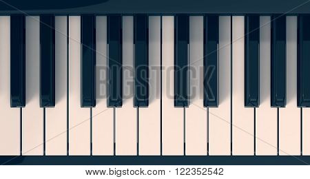 top view of a piano keyboard (3d render)