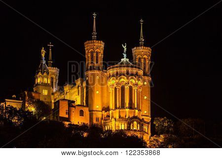 The Basilica Notre Dame de fourviere in Lyon, France at night